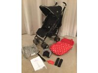 Maclaren techno xt with cath kidston footmuff and raincover pushchair buggy