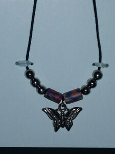 Butterfly Pendant Necklace from estate on leather chain