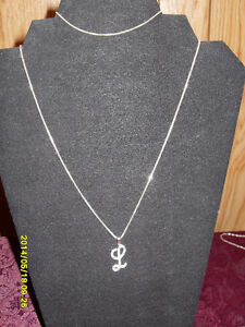 """L"" on a 16"" chain with a matching chain bracelet (.925 SS stamp"