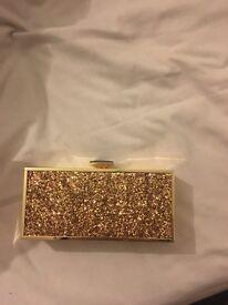 Gold glitter river island box clutch bag