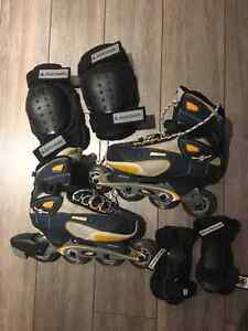 Bauer Rollerblades (size 8) with Elbow and Knee Pads