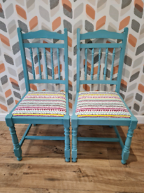 2 x Beautiful upcycled pine chairs