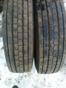 (2) x GOODYEAR G647 RSS TIRES ON RIMS - 225/70/19.5