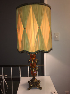 Beautiful heavy  brass base with crystal big size table lamp