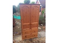 Solid chunky pine wardrobe with 2 drawers. Local Delivery