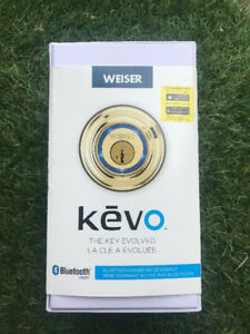 Kevo Polished Brass Bluetooth Deadbolt Smart Lock w/ 5 FOBs