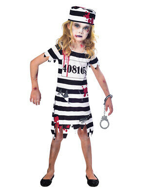 Child Zombie Convict Costume Jail Girls Halloween Prisoner Fancy Dress 5-12 Yrs ](Girl Jail Halloween Costume)