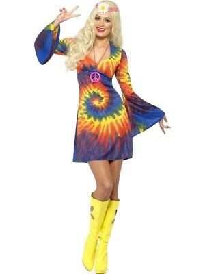60er Jahre Hippiekostüm Damen Regenbogenkleid Flower Power - 60er Jahre Flower Power Hippie Kostüm