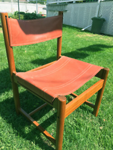 Mid-Century Designer Imbuia & Leather dining chairs