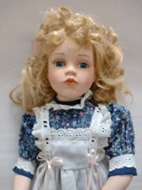 16 Inch Vintage Porcelain Doll original box/stand. Viewing in garden!!