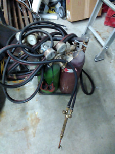 Oxy Acetylene torch with hoses and tanks