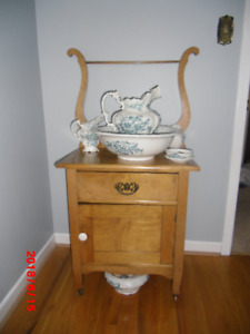 Antique wash stand with china bowl set