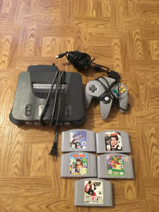Nintendo 64 with 5 games