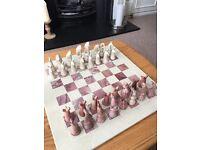 Polished stone chess set