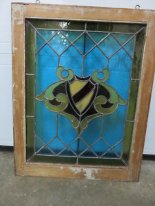 1 VINTAGE STAIN GLASS WINDOW GREAT CONDITION ASKING $225