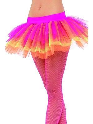 Damen 80er Jahre 1980er Jahre Kostüm Lagig Tütü Neon Multi von Smiffys Neu