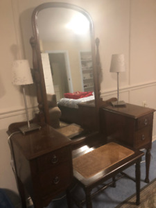 Antique vanity table and stool