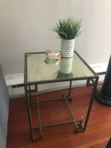 Mirror Top End Table