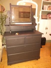 Large black vintage dressing table