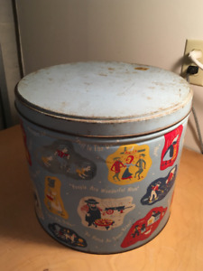 Large Blue Amish Decorative Tin - store dog or cat supplies