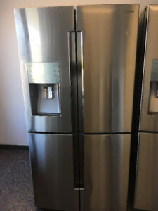 """SAMSUNG 36"""" 4 DOOR STAINLESS FRIDGE WITH EXT. WATER AND ICE"""