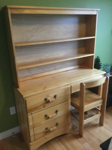 Solid wood desk with shelf unit attachment