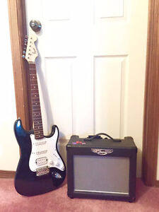 Fender Squier electric guitar with amp