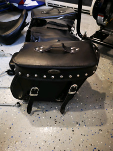 Motorcycle saddle bags and backrest