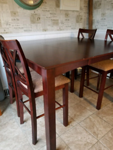 Pub Height Dining table, chairs and hutch