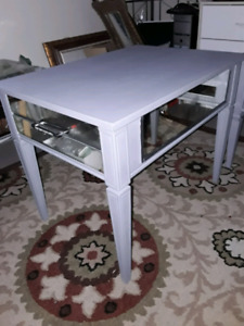 Solid wood grey side table