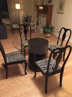 Round glass table and chairs $400