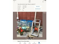 Bank of two fish tanks