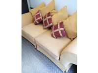 Beautiful Mustard / Yellow Large 3 Seater Sofa And Chair. Excellent Condition