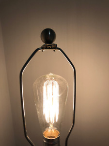 Industrial glass and metal lamp includes EDISON BULB