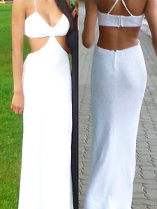 Grad/Wedding White Sequin Dress worn only 1 hour for photo shoot