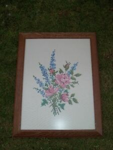 REDUCED Framed Cross Stitch Wall Hanging