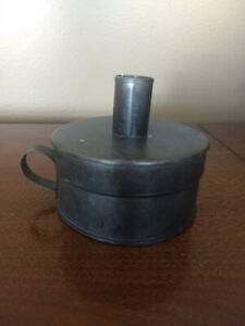 Primitive style decor - tin candle holder