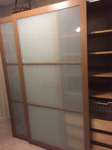Two Steel framed Frosted Glass PAX doors