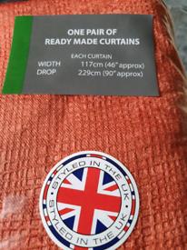"Orange curtains 3"" Tape Heading Brand New"