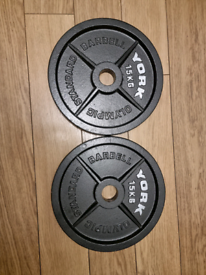 2 x 15kg York Olympic Weights