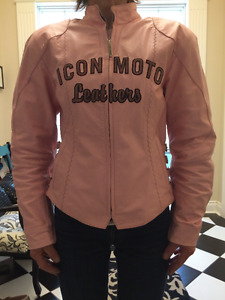 Women's Leather Pink Riding Jacket ICON Bombshell