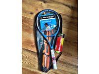 Brand new Dunlop Tennis Racquet & balls (RRP £45)