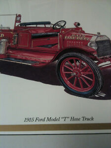 FIRE TRUCK PICTURE 15 X 20 1915 FORD MODEL T HOSE TRUCK GOOD FOR