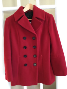 NEW Jones New York red wool and cashmere pea jacket