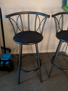 Set of 2 barstools chairs Black & steel / high chairs bar table