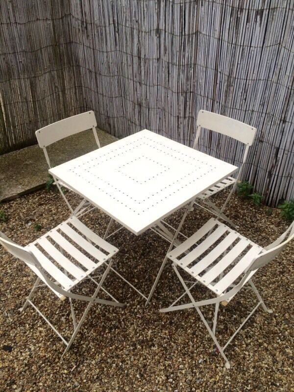 Laura Ashley solid iron cream bistro garden table four chairs with cushions - Laura Ashley Solid Iron Cream Bistro Garden Table Four Chairs With