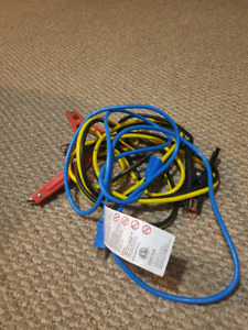 Jumper cables and blue extension cord