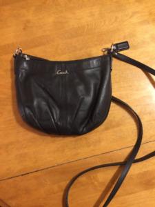 Small Black Leather Coach Pleated Crossbody Bag Purse