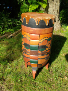 "Hand Carved Zulu Drum - Drum 14 inch diameter - 28"" tall"