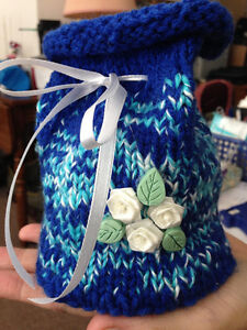 Hand Knitted Drawstring Bags